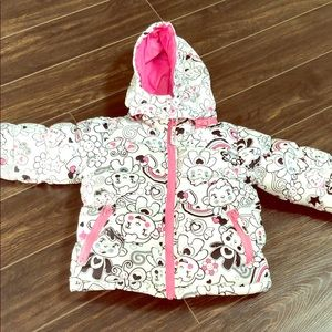 Girl 24 Month Puffer Coat EUC with Cute Print